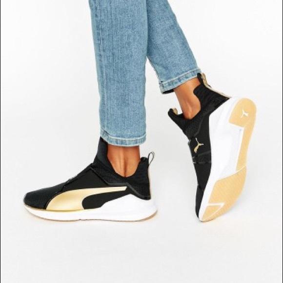 Women's Puma Fierce Black & Gold Sneakers
